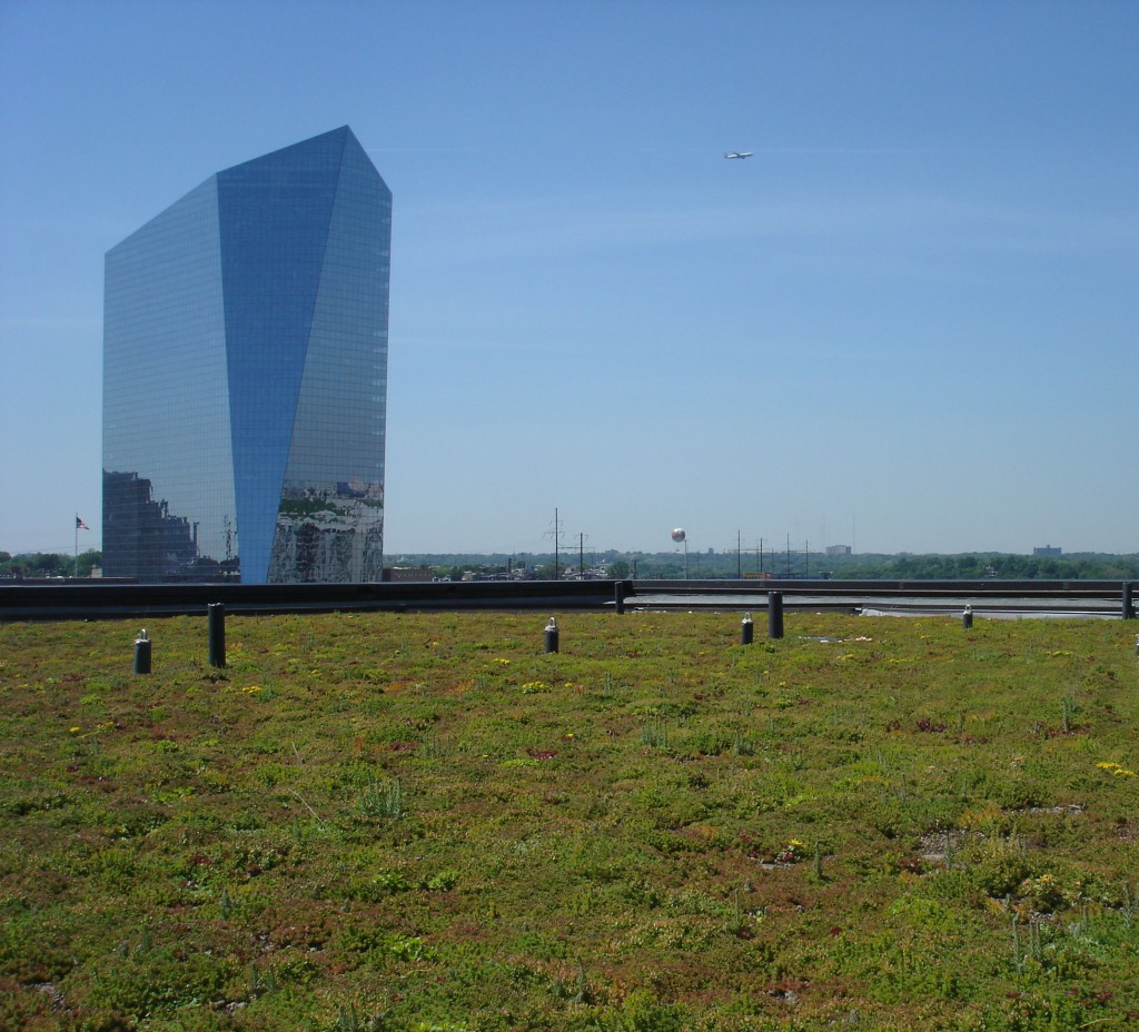 A one acre green roof in Philadelphia along the banks of the Schuylkill River.