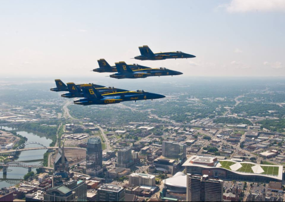 Blue Angels in the airspace above Music City Center.  Photo courtesy Greenrise Technologies.