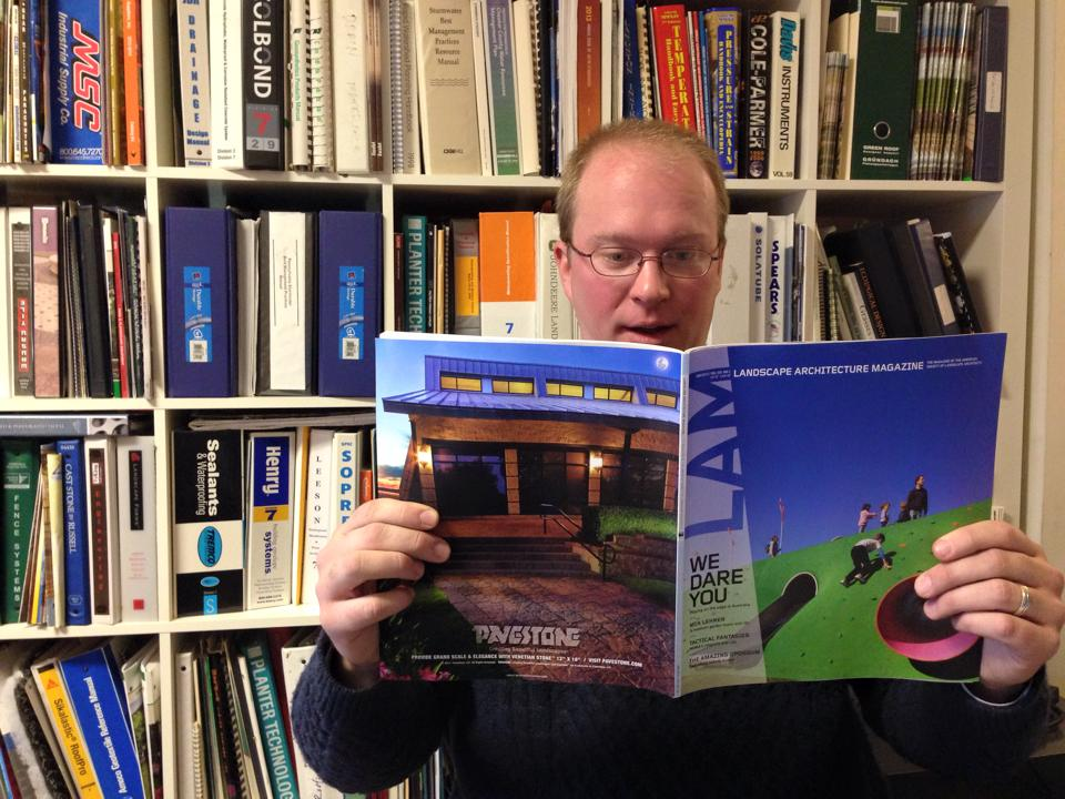 "Tim Ressler and the January 2015 issue of LAM, which includes the feature article ""This is a Test"" by EAT UP author Lauren Mandel."