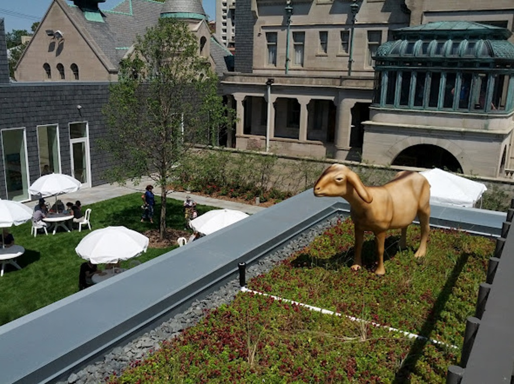 A fiber glass goat named Frejya on the America Swedish Institute green roof.