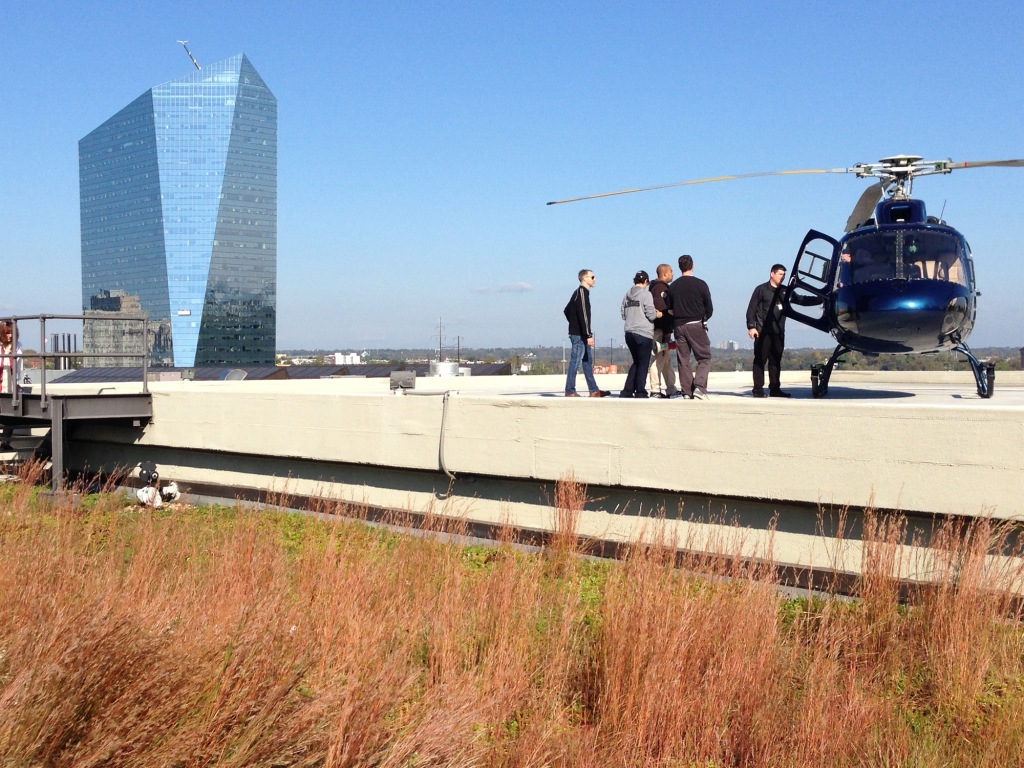 The Allegiance crew on the PECO green roof filming an episode that will air this week!