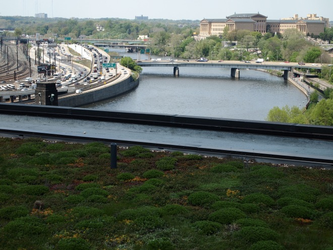 A view of the Schuylkill River and the Philadelphia Art Museum from the PECO green roof.